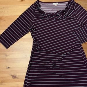 The Loft Maroon/Grey Striped Stretch Dress